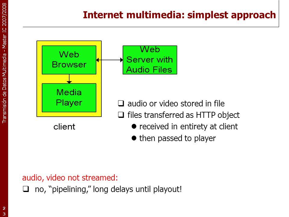 "Transmisión de Datos Multimedia - Master IC 2007/2008 23 Internet multimedia: simplest approach audio, video not streamed:  no, ""pipelining,"" long de"