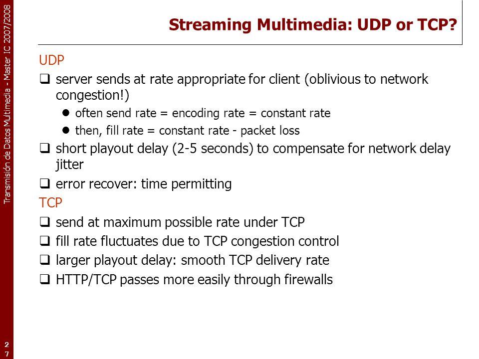 Transmisión de Datos Multimedia - Master IC 2007/2008 27 Streaming Multimedia: UDP or TCP? UDP  server sends at rate appropriate for client (obliviou