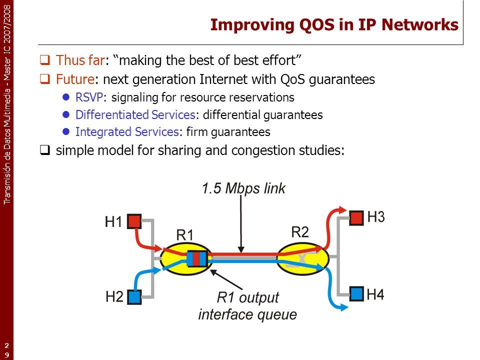 "Transmisión de Datos Multimedia - Master IC 2007/2008 29 Improving QOS in IP Networks  Thus far: ""making the best of best effort""  Future: next gene"