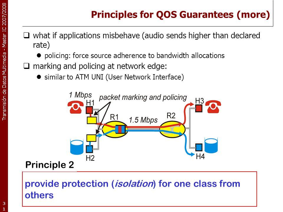 Transmisión de Datos Multimedia - Master IC 2007/2008 31 Principles for QOS Guarantees (more)  what if applications misbehave (audio sends higher tha