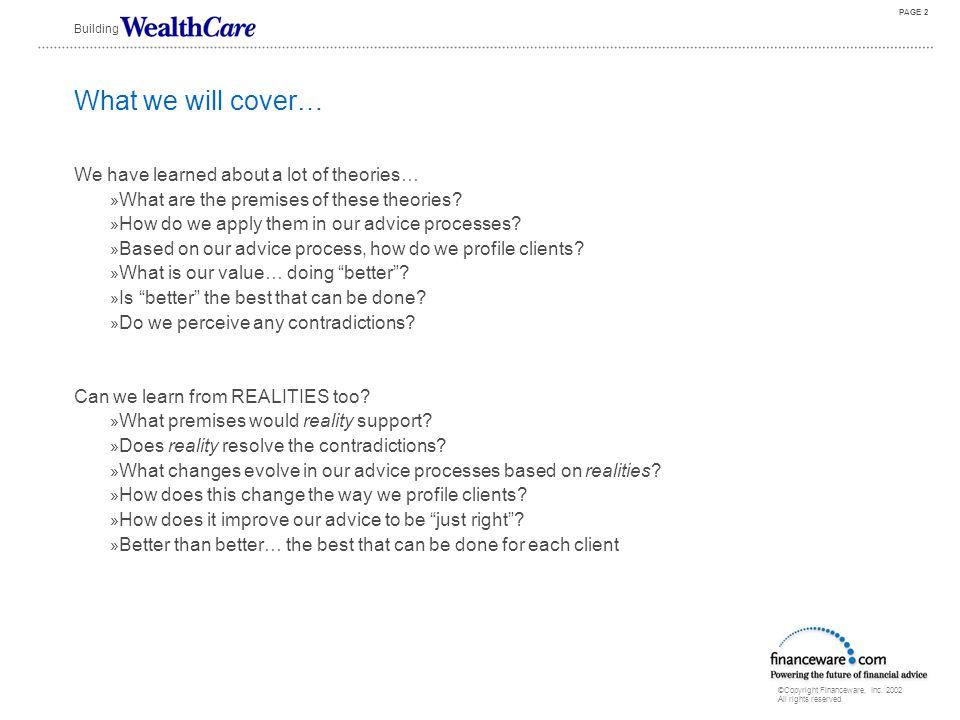 "The Future Of Financial Advice WealthCare & Modern Portfolio Reality© Through ""Goldilocks"" Planning David B. Loeper, CIMA CEO Building"