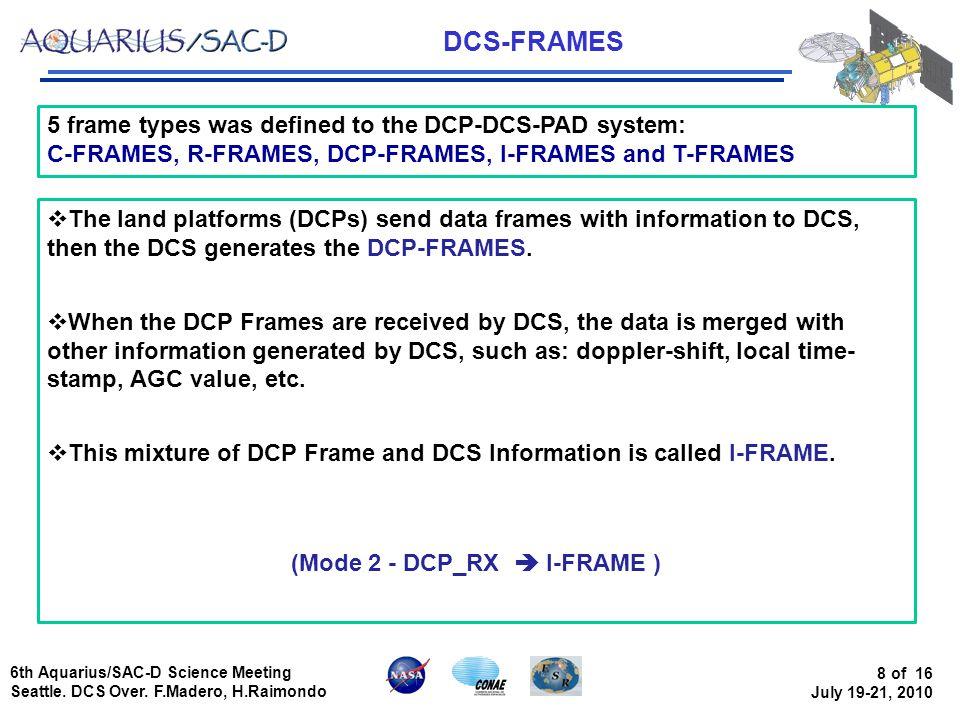 6th Aquarius/SAC-D Science Meeting Seattle. DCS Over.