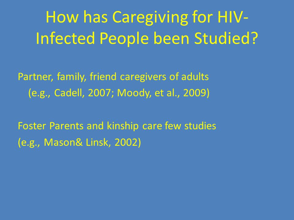 How has Caregiving for HIV- Infected People been Studied.