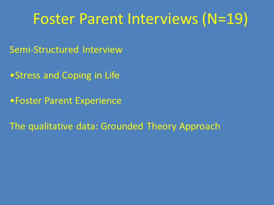 Semi-Structured Interview Stress and Coping in Life Foster Parent Experience The qualitative data: Grounded Theory Approach Foster Parent Interviews (N=19)