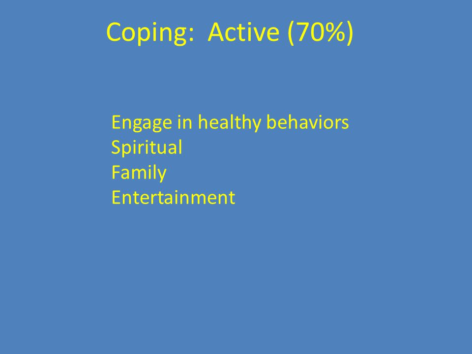 Engage in healthy behaviors Spiritual Family Entertainment Coping: Active (70%)