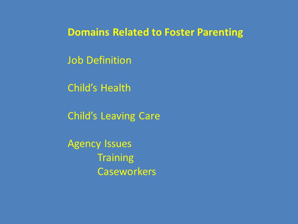 Domains Related to Foster Parenting Job Definition Child's Health Child's Leaving Care Agency Issues Training Caseworkers