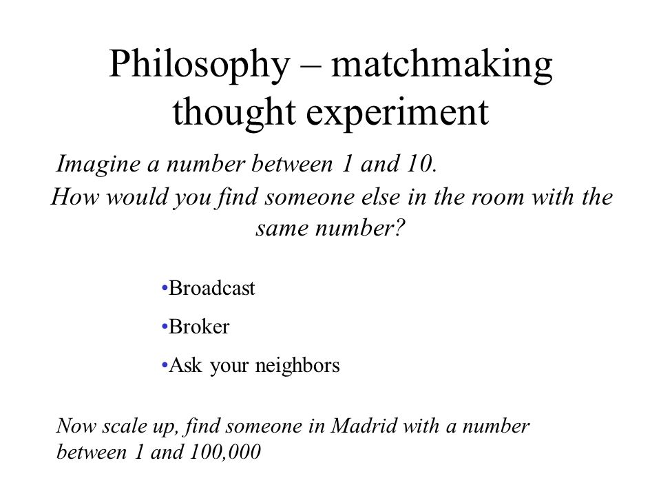 Philosophy – matchmaking thought experiment How would you find someone else in the room with the same number.