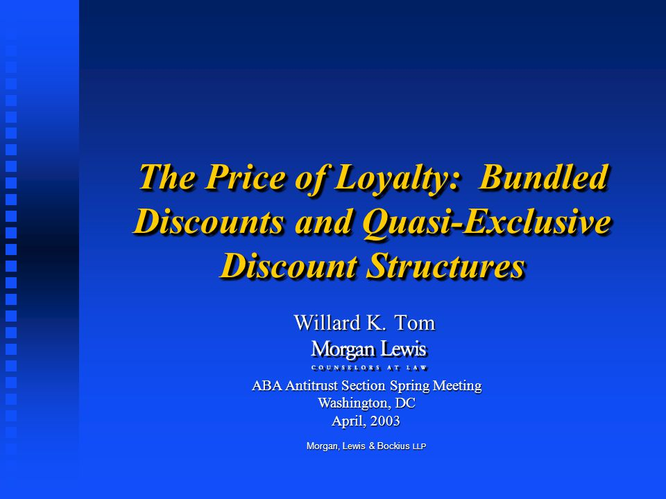 The Price of Loyalty: Bundled Discounts and Quasi-Exclusive Discount Structures Willard K.
