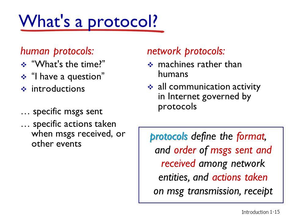 """Introduction What's a protocol? human protocols:  """"What's the time?""""  """"I have a question""""  introductions … specific msgs sent … specific actions ta"""