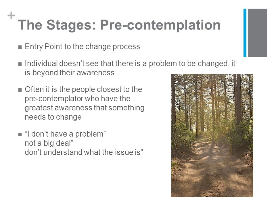 + The Stages: Pre-contemplation Entry Point to the change process Individual doesn't see that there is a problem to be changed, it is beyond their awareness Often it is the people closest to the pre-contemplator who have the greatest awareness that something needs to change I don't have a problem It's not a big deal I don't understand what the issue is
