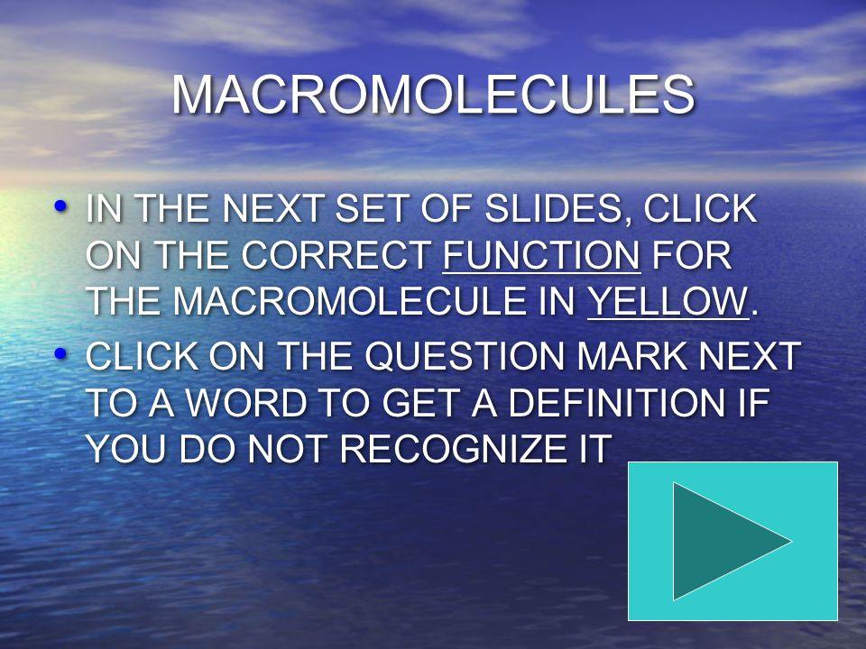 MACROMOLECULES IN THE NEXT SET OF SLIDES, CLICK ON THE CORRECT FUNCTION FOR THE MACROMOLECULE IN YELLOW.
