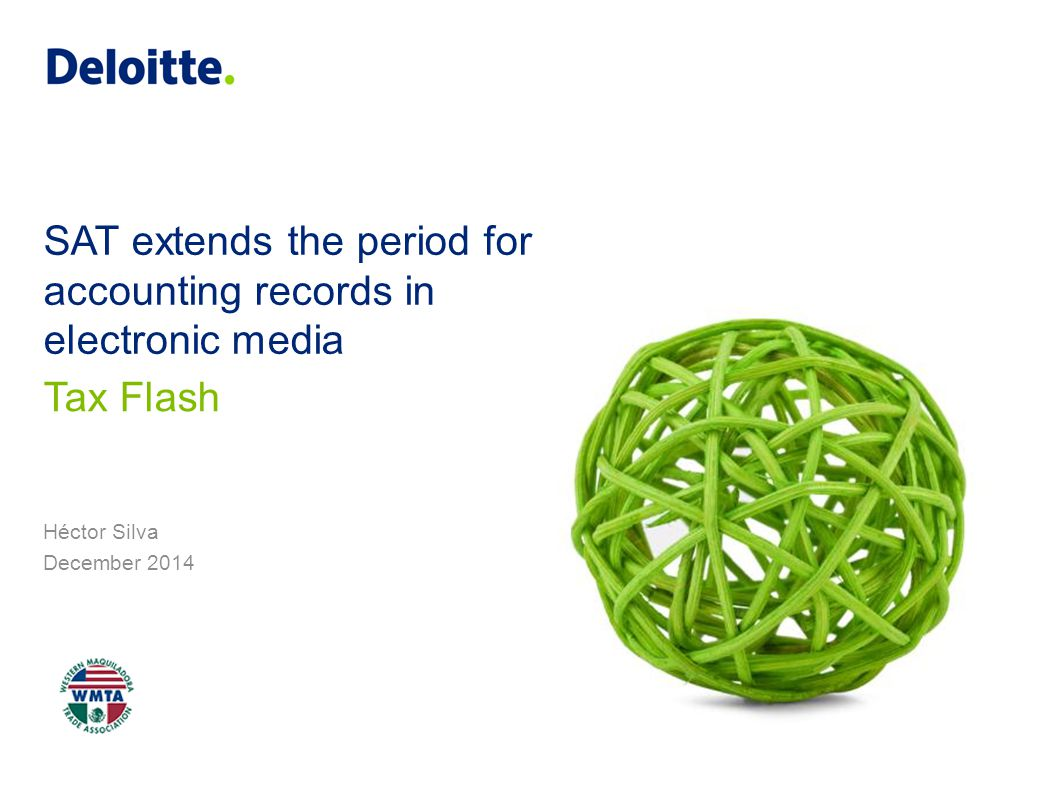 SAT extends the period for accounting records in electronic media Héctor Silva December 2014 Tax Flash