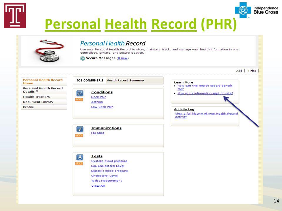 Personal Health Record (PHR) 24 JOE CONSUMER'S