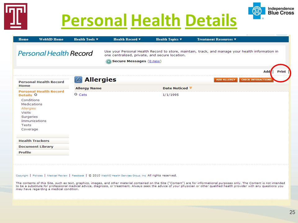 Personal Health Details 25