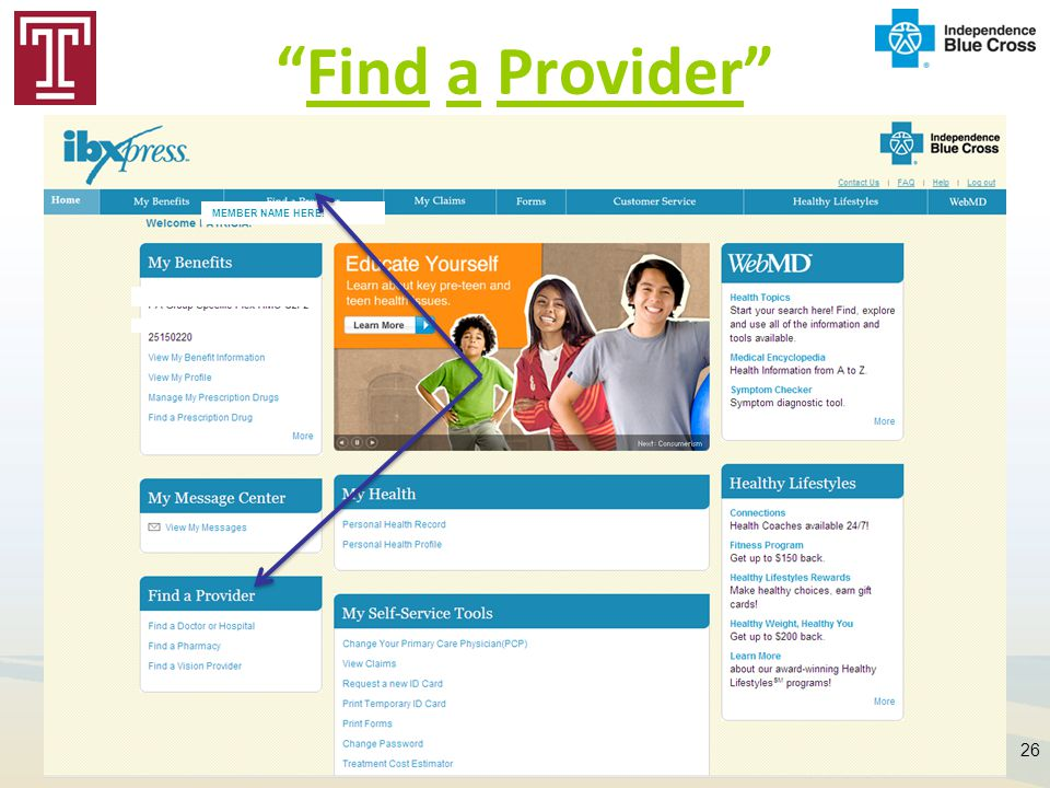 Find a Provider 26 MEMBER NAME HERE!
