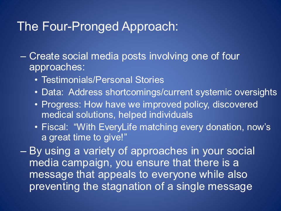 The Four-Pronged Approach: –Create social media posts involving one of four approaches: Testimonials/Personal Stories Data: Address shortcomings/current systemic oversights Progress: How have we improved policy, discovered medical solutions, helped individuals Fiscal: With EveryLife matching every donation, now's a great time to give! –By using a variety of approaches in your social media campaign, you ensure that there is a message that appeals to everyone while also preventing the stagnation of a single message