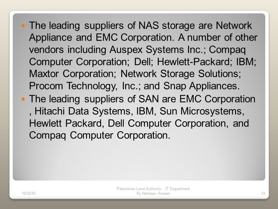 The leading suppliers of NAS storage are Network Appliance and EMC Corporation.