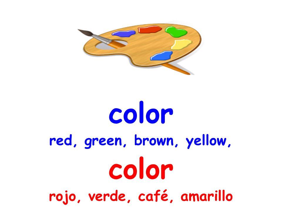color red, green, brown, yellow, color rojo, verde, café, amarillo