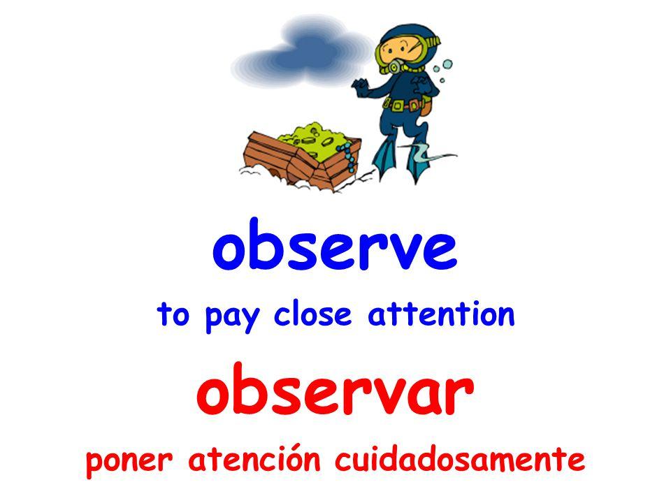 observe to pay close attention observar poner atención cuidadosamente