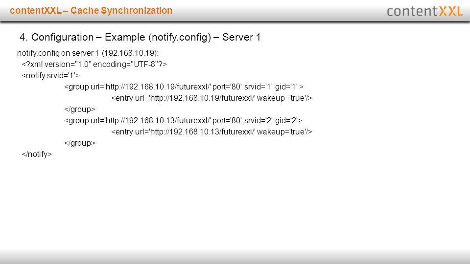 Titelmasterformat durch Klicken bearbeitencontentXXL – Cache Synchronization 4. Configuration – Example (notify.config) – Server 1 notify.config on se