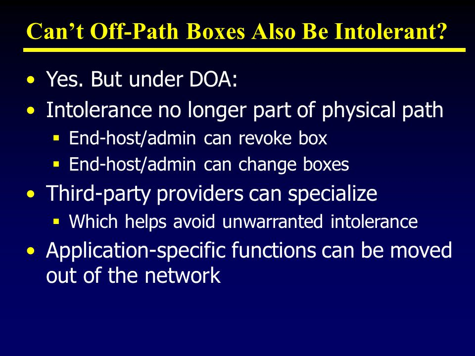 Can't Off-Path Boxes Also Be Intolerant. Yes.