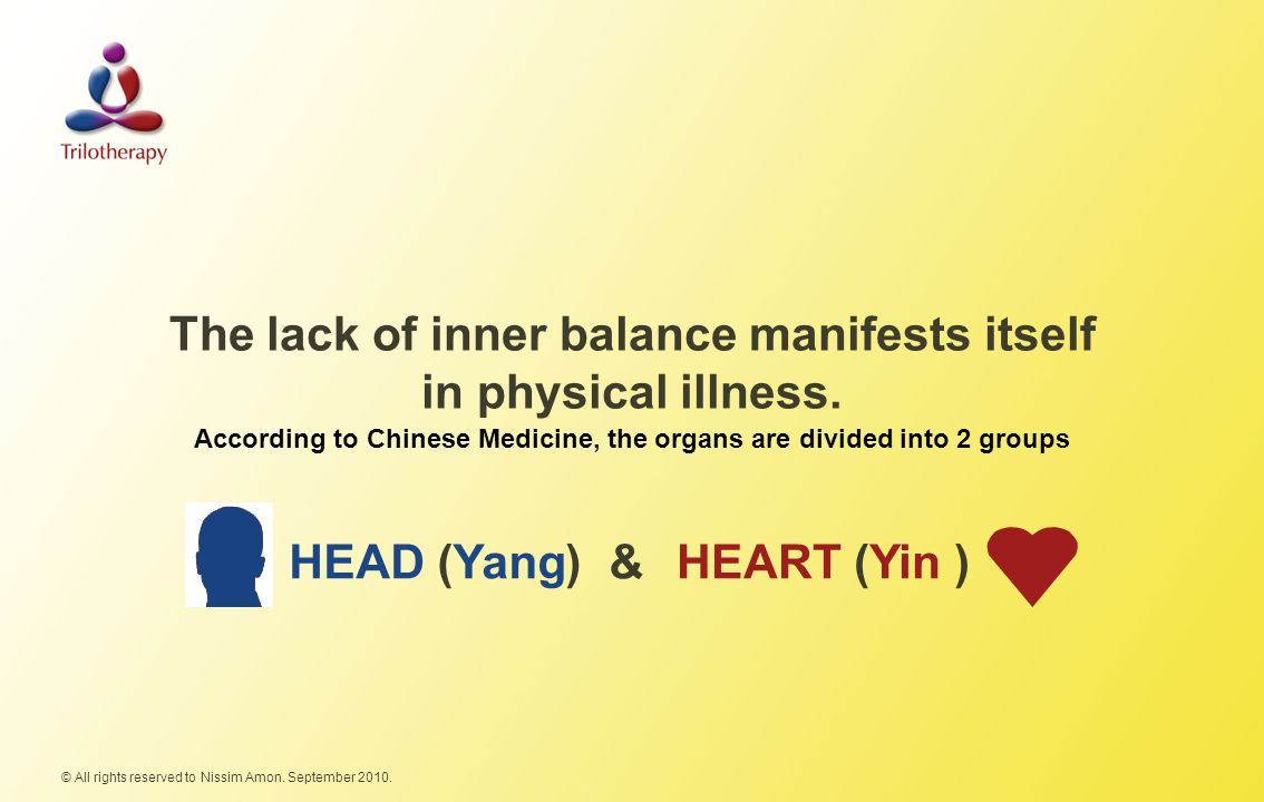 The lack of inner balance manifests itself in physical illness.