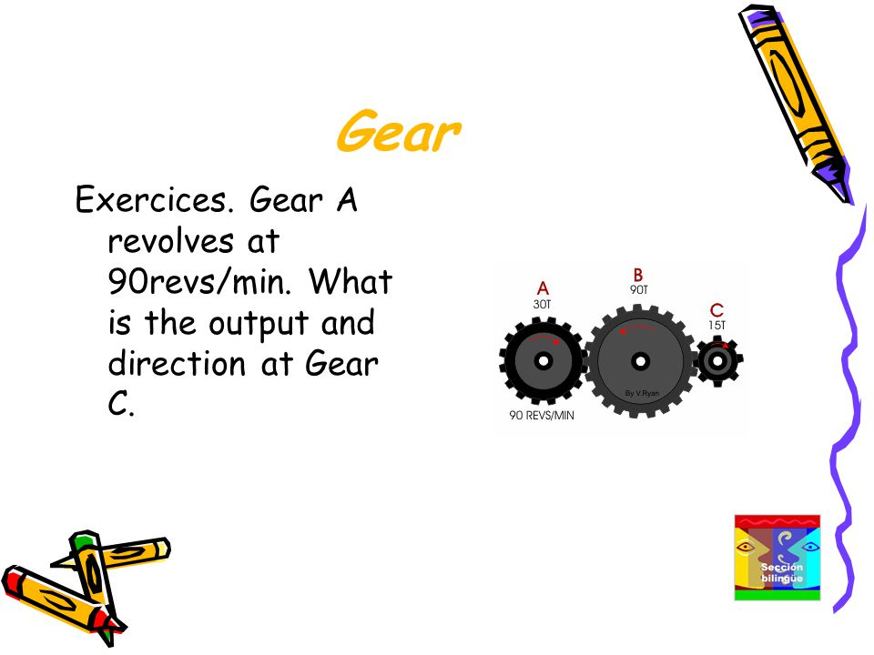 Gear Exercices. Gear A revolves at 90revs/min. What is the output and direction at Gear C.