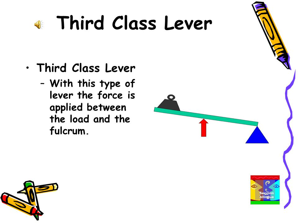 Third Class Lever –With this type of lever the force is applied between the load and the fulcrum.