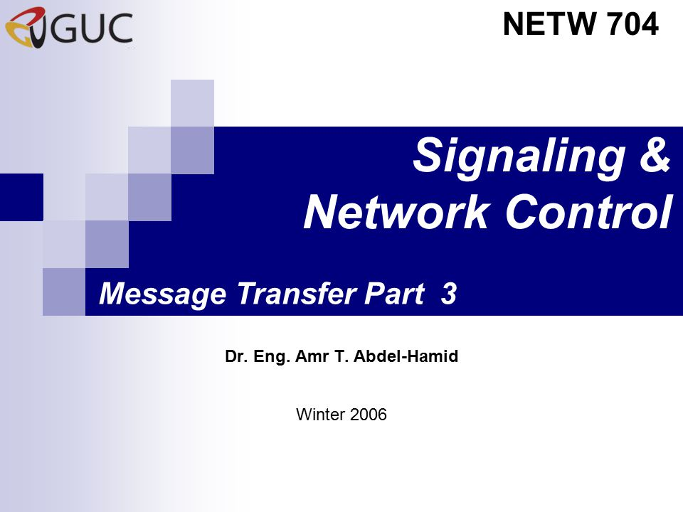 Signaling & Network Control Dr. Eng. Amr T. Abdel-Hamid NETW 704 Winter 2006 Message Transfer Part 3