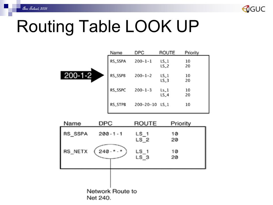 Amr Talaat, 2006 Routing Table LOOK UP