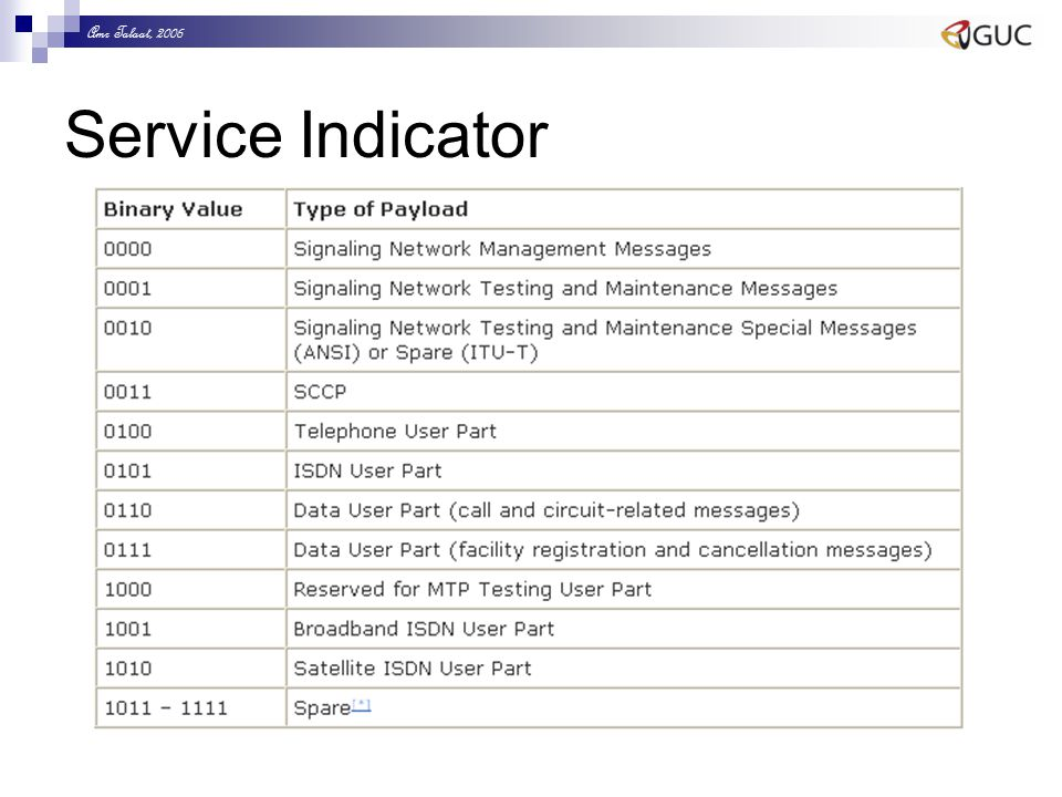 Amr Talaat, 2006 Service Indicator