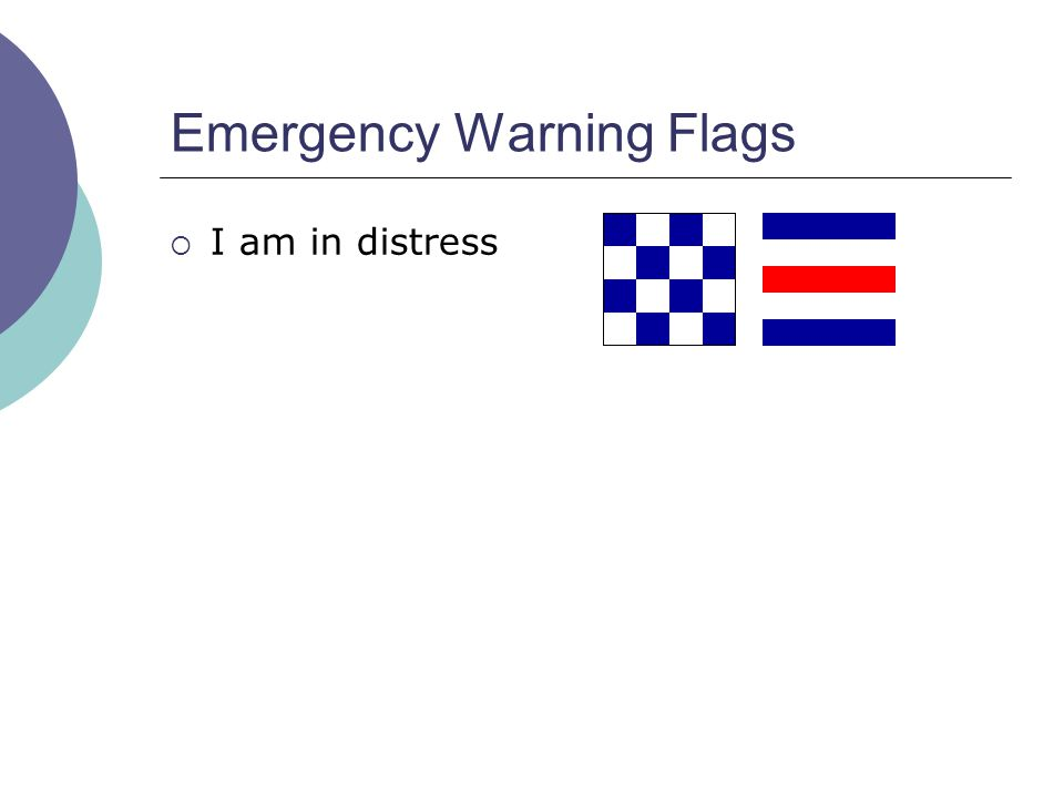 Emergency Warning Flags  I am in distress