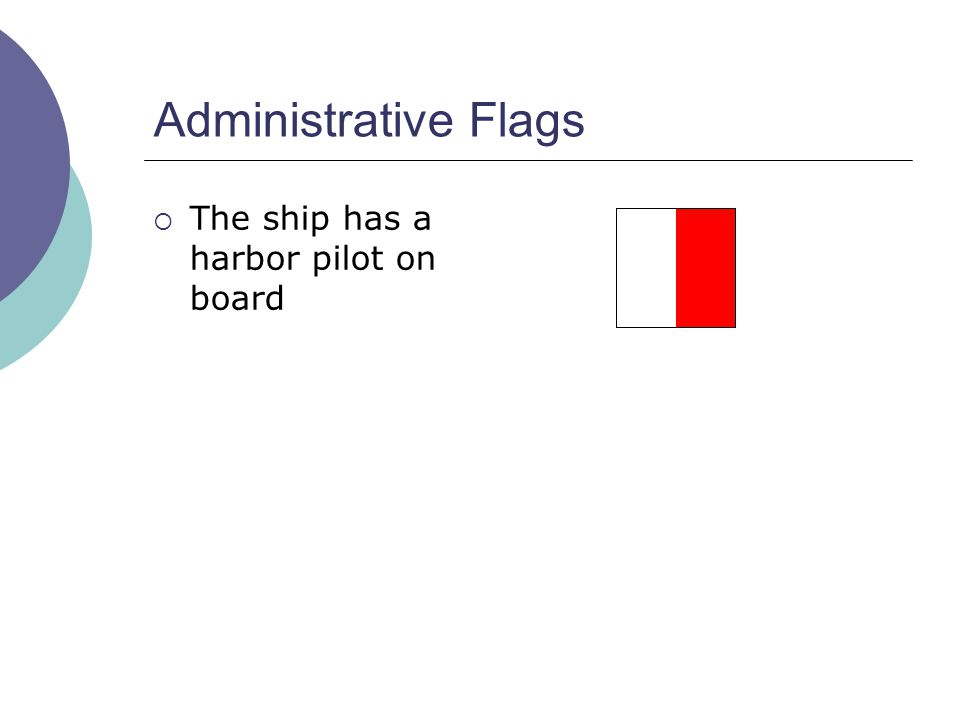 Administrative Flags  The ship has a harbor pilot on board