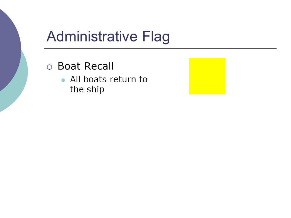 Administrative Flag  Boat Recall All boats return to the ship