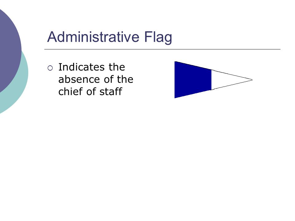 Administrative Flag  Indicates the absence of the chief of staff