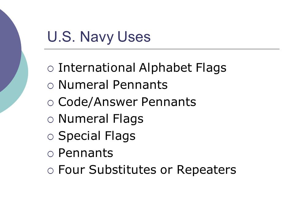 U.S. Navy Uses  International Alphabet Flags  Numeral Pennants  Code/Answer Pennants  Numeral Flags  Special Flags  Pennants  Four Substitutes