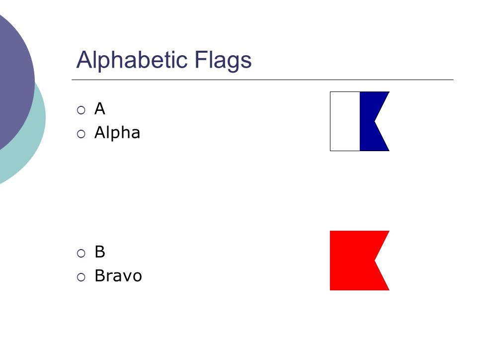 Alphabetic Flags  A  Alpha  B  Bravo
