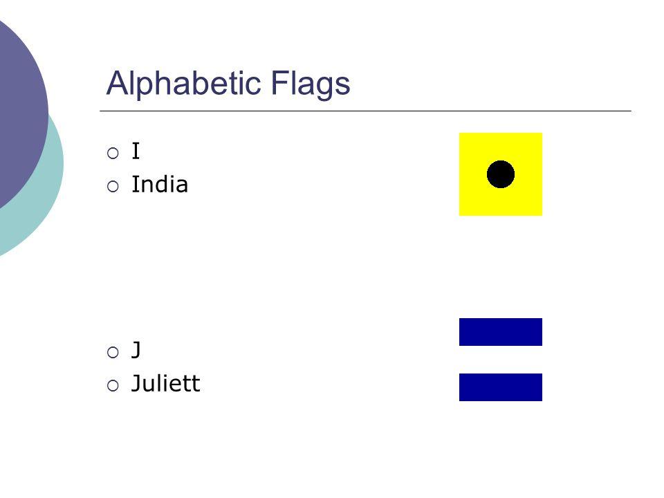 Alphabetic Flags  I  India  J  Juliett