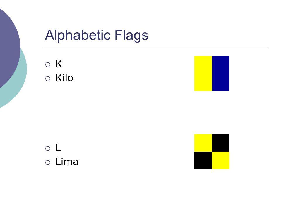 Alphabetic Flags  K  Kilo  L  Lima