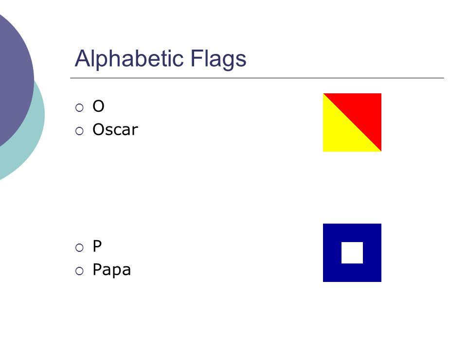 Alphabetic Flags  O  Oscar  P  Papa