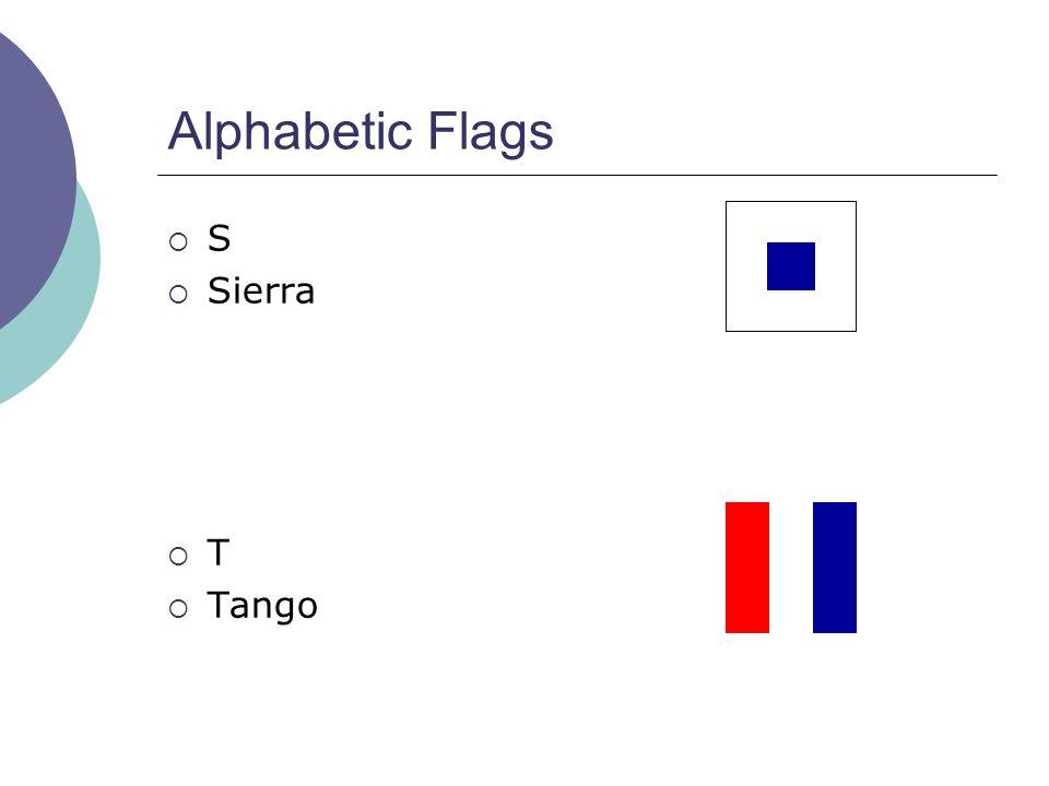 Alphabetic Flags  S  Sierra  T  Tango