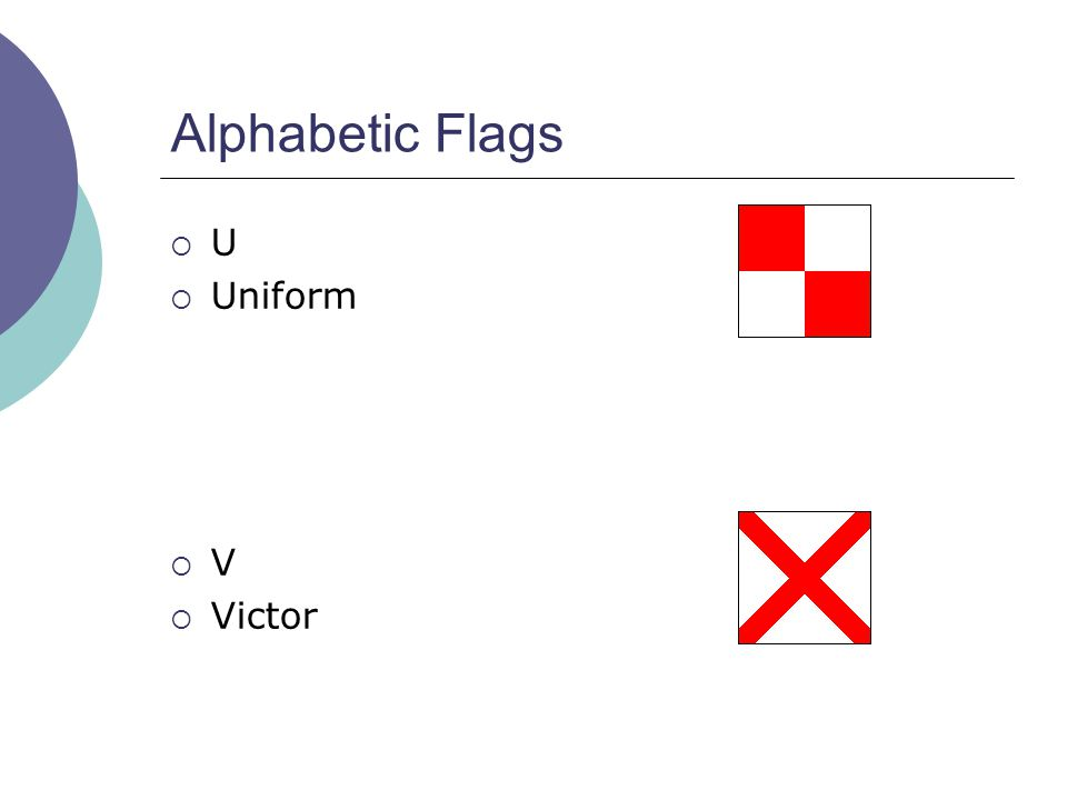 Alphabetic Flags  U  Uniform  V  Victor