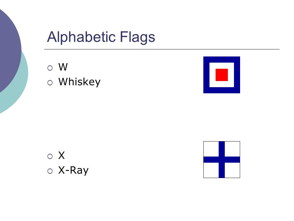 Alphabetic Flags  W  Whiskey  X  X-Ray