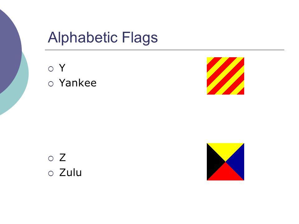 Alphabetic Flags  Y  Yankee  Z  Zulu