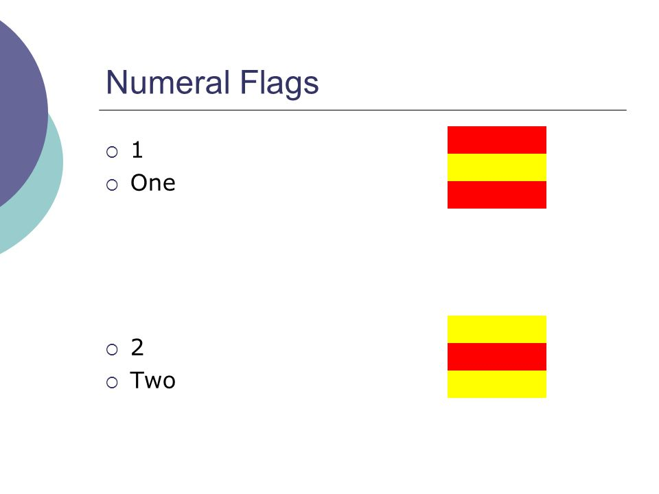 Numeral Flags  1  One  2  Two