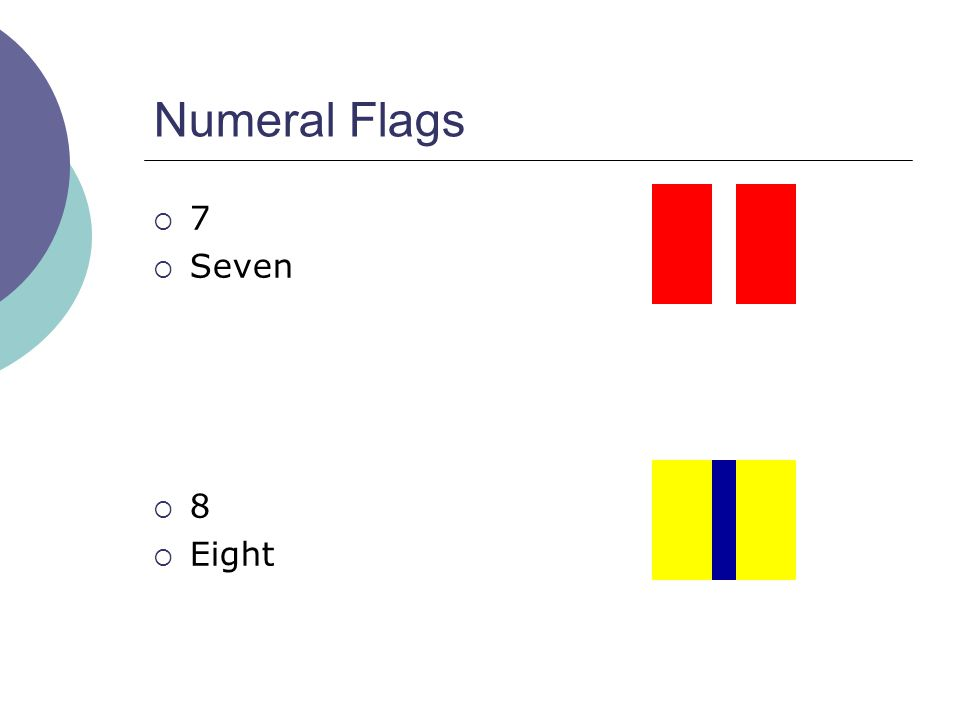 Numeral Flags  7  Seven  8  Eight