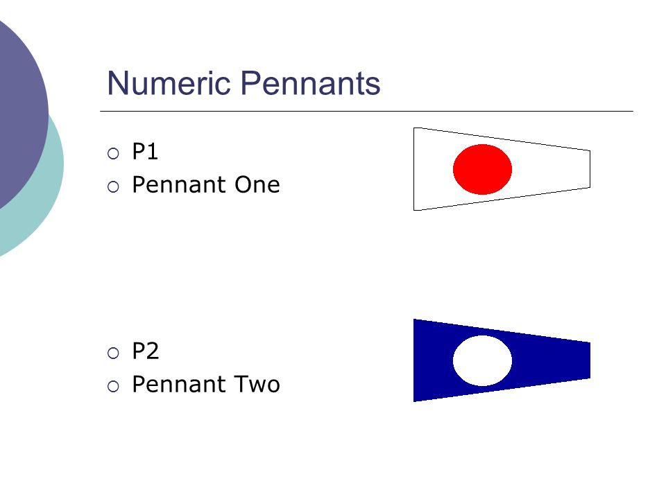 Numeric Pennants  P1  Pennant One  P2  Pennant Two