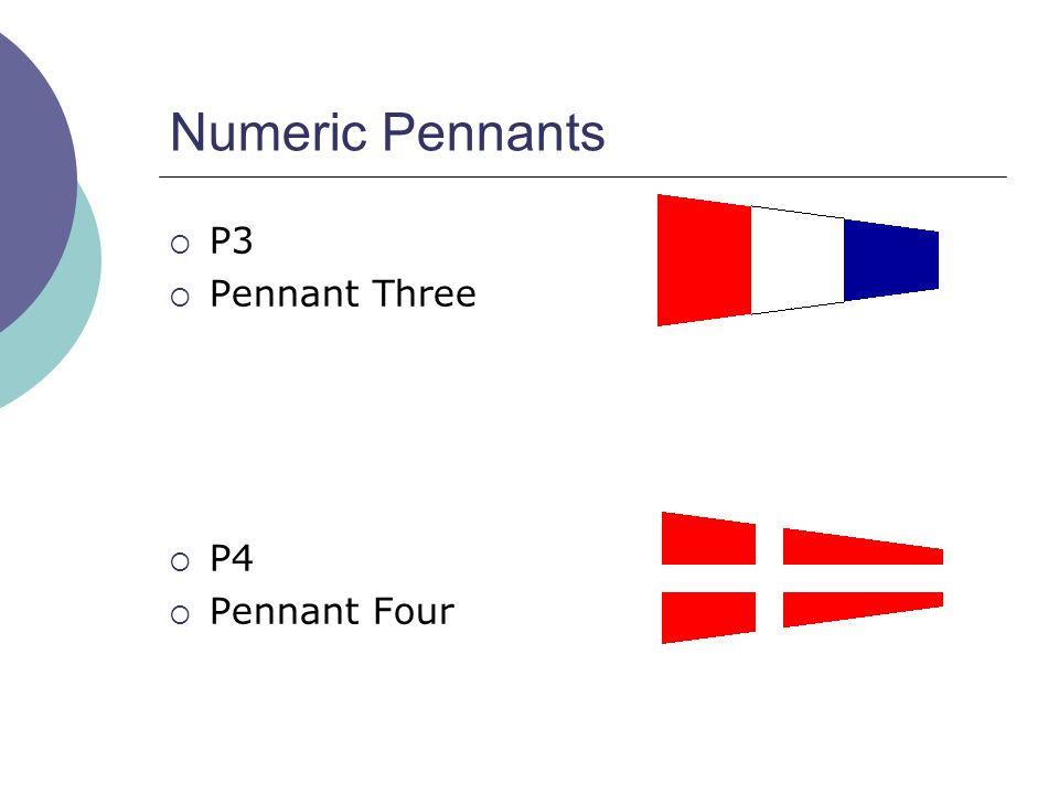 Numeric Pennants  P3  Pennant Three  P4  Pennant Four