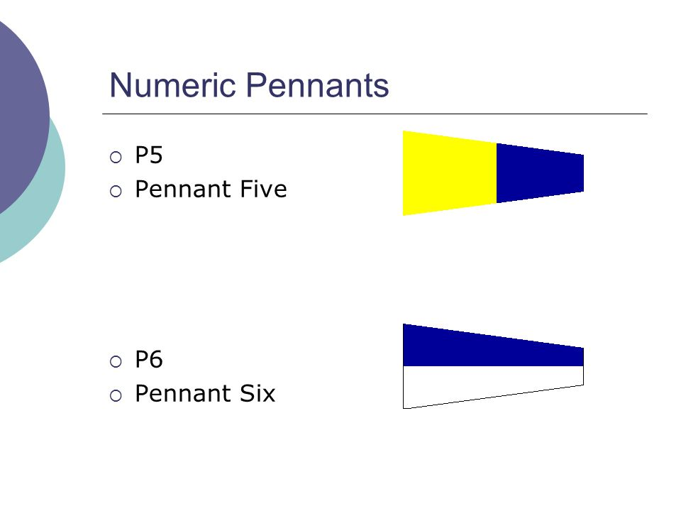 Numeric Pennants  P5  Pennant Five  P6  Pennant Six