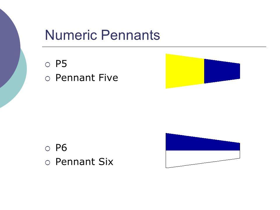 Numeric Pennants  P5  Pennant Five  P6  Pennant Six